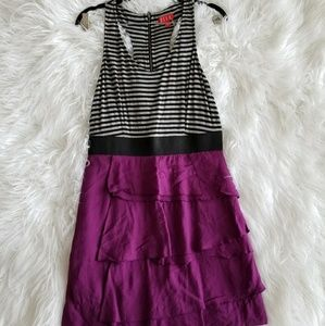 Elle empire waist tiered dress purple strips black